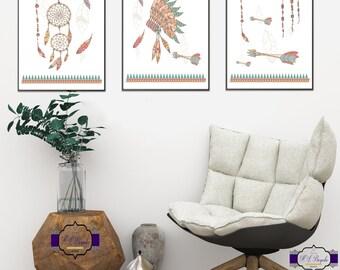 A4 Boho Print Set - Dream Catcher Print - Feather Art - Arrows Art - Indian Headdress Print - Boho Wall Decor - Bohemian Art - Unframed
