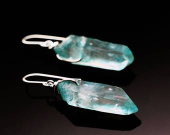 Pale blue crystal earrings |  Aqua Quartz earrings | Sterling Silver blue earrings | Raw crystal earrings | Natural gemstone earrings