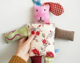 "Cuddle rabbit ""Rose"", cuddle rabbit, stuffed animal, Leukgemaakt, children's toys, kids present, Christmas, birthday gift, baby"