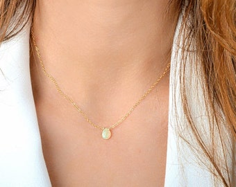 Welo opal pendant etsy ethiopian opal necklace october birthstone natural welo opal pendant genuine crystal necklace 14k rose mozeypictures Gallery