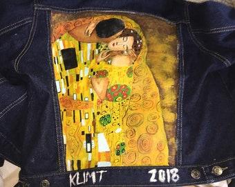 Klimt - The Kiss - Hand Painted Denim Jacket