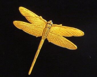 Dragonfly Pin Brooch Large Beautifully Detailed Dragonflies 24 Karat Gold Plate Garden Pond Vacation PG046