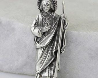 Saint jude braceletpatron saintsan judas tadeosaint sterling silver st jude necklace sterling silver 925 saint jude apostle necklace oxidized silver mozeypictures Gallery