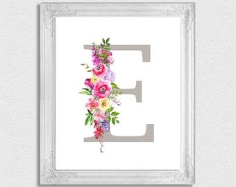 Letter E Monogram, Floral Monogram, Nursery Monogram, Printable Monogram Letters, Initial Print, Letter E, Nursery Letters, Alphabet Letters