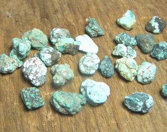 3 vintage Turquoise Nuggets - raw rough natural stone - light teal sky blue - Nevada USA - genuine solid specimen crystal lot of three M991