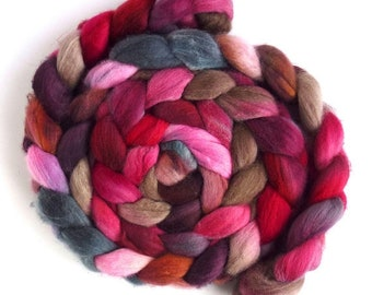 Organic Polwarth Hand Spinning Roving - Hand Dyed, Cool Fire