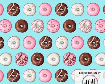 Donut Fabric By The Yard / Doughnut Fabric Blue / Icing Sprinkle Dessert / Childrens Fabric / Kids Baby Fabric Print in Yards & Fat Quarter