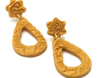 Stamped Gold Polymer Clay Teardrop Dangles