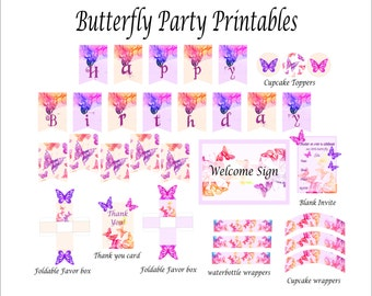Butterfly Printable Favor Box- Party Favors- Party Favor Boxes- Baby shower favor box- Thank you Tags