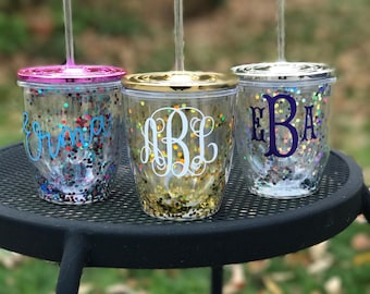 Glitter Tumbler, Personalized Tumbler, Monogrammed Tumbler, Confetti Tumbler, Metallic Tumbler, New Years Eve, Bridesmaid Gift, Sorority,