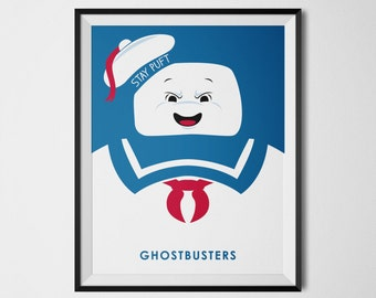 Stay Puft Marshmallow Man Print Ghostbusters Art Poster Movie Poster Minimalist Ghostbusters Wall Decor Movie Poster Art Cool Illustration