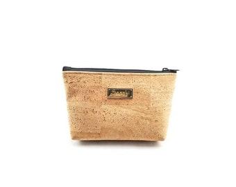 """9"""" x 5""""  Natural Cork  - Gadget Bag - zipper pouch - Bag organizer"""