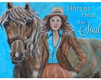 Original 5 x 7 Horse and Girl Art Print-Western,Wall Decor--Girl's room-Blue-Home Decor-Horse Lover_Western- Equestrian  Ask a Question