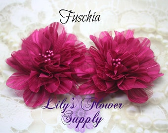Tulle Flower - New Style - Fuschia - Chiffon Flower - Lace rose - Chiffon Mesh Tulle Flower - Wholesale - Supply - 3.5 inch - Set of 2