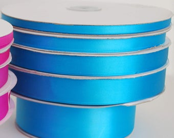 """1.5"""" Double Face Satin Ribbon -Turquoise--your choice of length"""