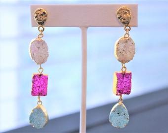 Druzy Earrings Druzy Jewelry Long Druzy Earrings Druzy Chandelier Earrings Boho Earrings Geode Earrings Boho Jewelry Gold Druzy Earrings