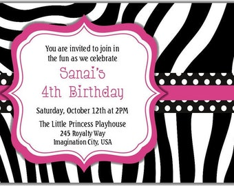 Pink Zebra and Black Polka Dots Personalized Printable Digital DIY Invitation or Post Card ( Any Wording or Text)