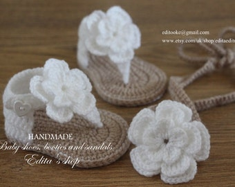 Crochet baby set, baby headband, gladiator sandals, 0-3, 3-6, 6-9 months, tieback, baby booties, shoes, flower sandals, baby slippers, gift
