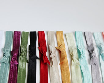 Set of 12- Handmade Hair Bow Elastic Headband for Women