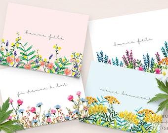 Ensemble varié de 4 Cartes de souhaits / Carte Bonne Fête, Carte Remerciement, Carte Je pense à toi, Tout occasion, Illustration de fleurs
