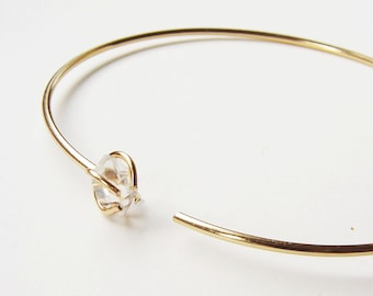 Herkimer Diamond Open Gold Bangle