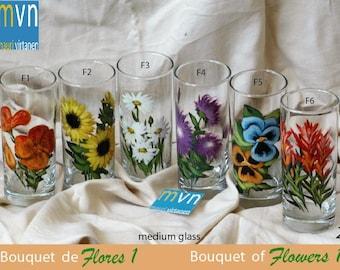 Customizable Bouquet of flowers 1, drinking flower glasses, set of flower glasses