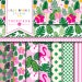 Tropical Flamingo digital paper, palms, fronds, scrapbook, pineapple, pool party, Instant Download