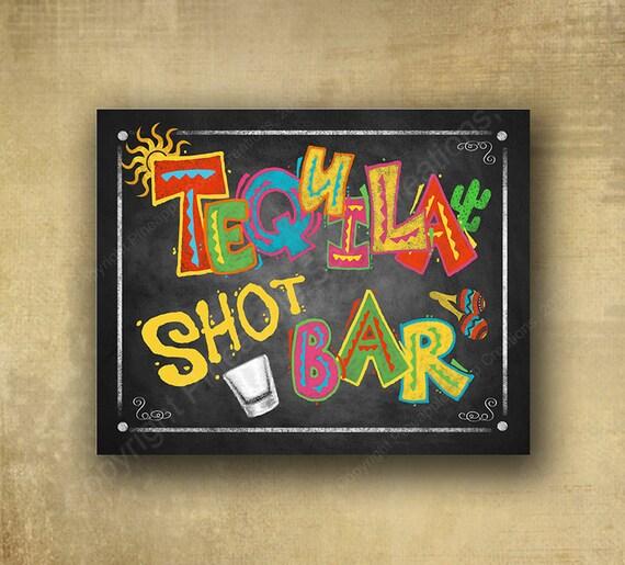 Printed Party Sign - Tequila Shot Bar Chalkboard Fiesta Sign - Fiesta Bar Sign, Fiesta party signage, wedding sign, Fiesta Grad sign