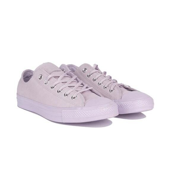 Purple Converse Lilac Fuchsia Lavender Suede Leather Low Chuck Taylor w/ Swarovski Crystal Rhinestone Wedding All Star Bride Sneakers Shoe