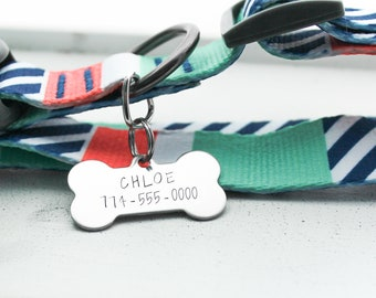 Pet ID Tag + Bone Tag + Dog ID Tag + Personalized Pet / Dog Tag