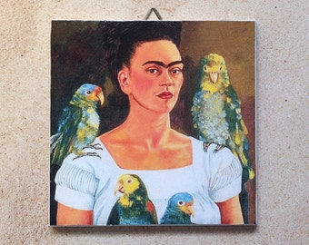 Frida Kahlo with parrots ceramic tile, to hang or display