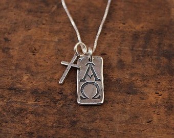 Alpha omega cross etsy alpha and omega pendant visible faith sterling silver jewelry christian handmade mozeypictures Gallery