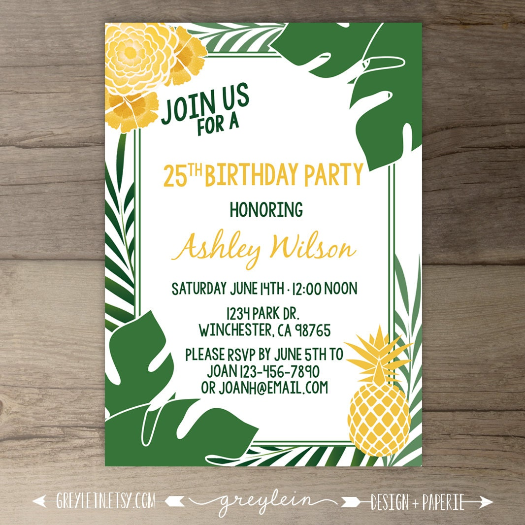 Tropical pineapple party invitations havana nights cuban zoom monicamarmolfo Images