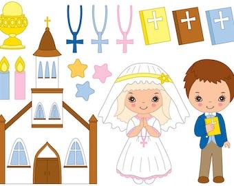Communion Clipart - Digital Vector First Communion, Religion, Christian, Kids Clip Art