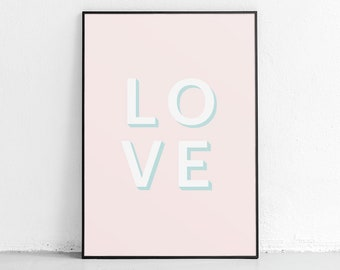 Pink Love Poster, Love Print, Love Wall Art Prints, Typography, Pink Home  Decor, Pink Poster, Love Poster, Bedroom Art