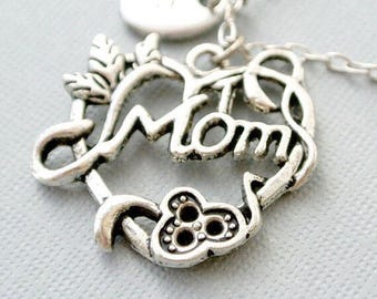 Mother's Day Necklace, New Mom Necklace, Mother Necklace, Gift for Mom, Personalize Necklace, Initial Jewelry,Handstamped Jewelry, Monogram