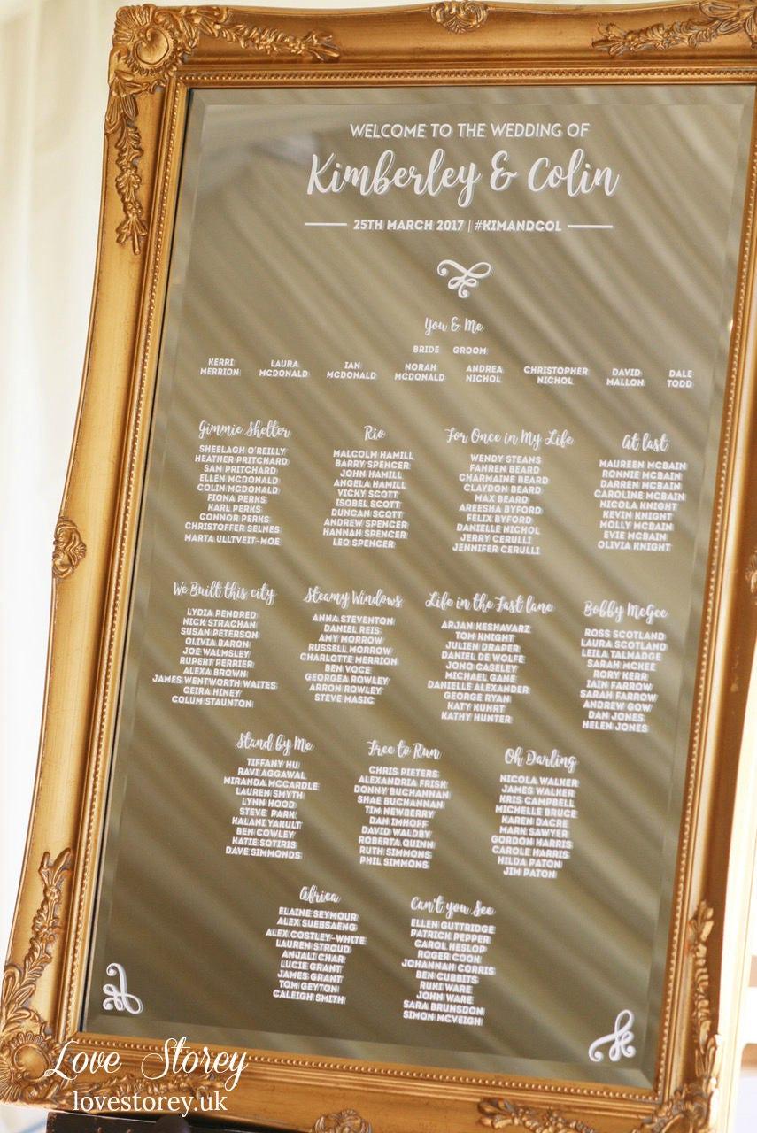 Mirror Wedding Table Plan Vinyl Lettering Vinyl Stickers