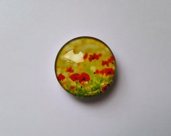 Field of Poppies Glass Needle Minder