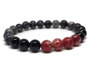 Jasper and Black Agate Bracelet, Mala Bracelet, Boho Style Bracelet, Gemstone Bracelet, Beaded Bracelet, Stone Bracelet, Jasper and Agate
