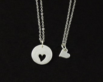 Sterling Silver Mother & Daughter Heart Necklaces