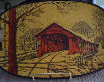 Unesco Yellow and Red Covered Bridge Serving Tray Made in Japan