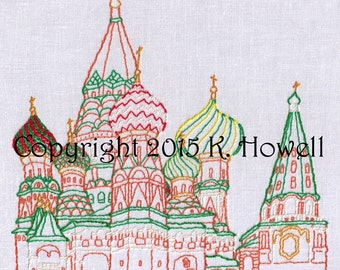 Saint Basil's Hand Embroidery Pattern, Cathedral, Russia, Kremlin, Church, PDF