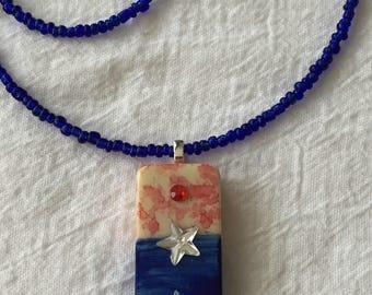 Red, White & Blue Handmade Domino Pendant On Beaded Chain