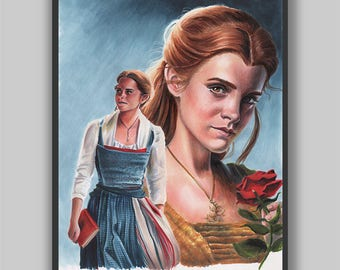 Something There - Print - Beauty and the Beast Emma Watson Copic Marker Portrait