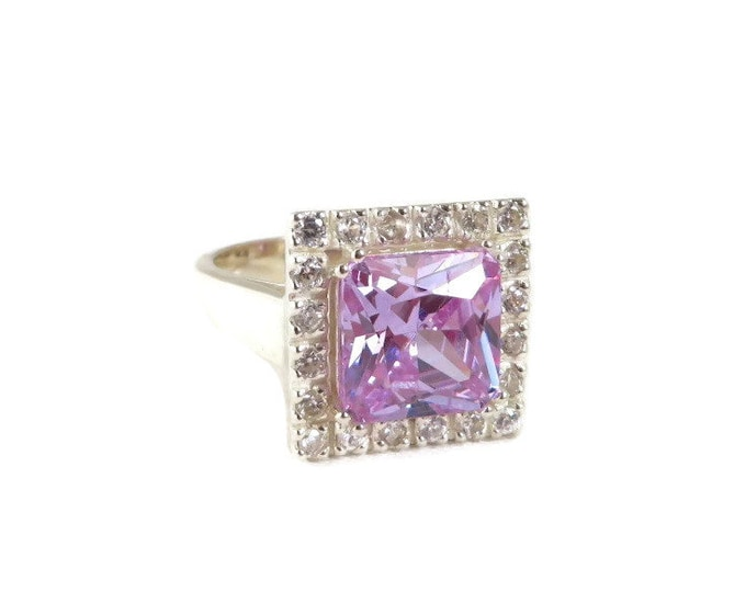 Synthetic Amethyst & CZ Ring, Sterling Silver Princess Cut Amethyst, Vintage Cocktail Ring, Size 8