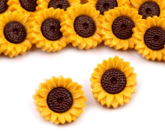 5 pcs Sunflower Buttons, Yellow Plastic Flower Buttons 15mm, for Childrens Clothing, Knitting Sewing Crafts Embellishments