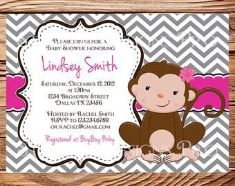 Imgenes de baby girl monkey baby shower invitations monkey baby shower invitation little monkey chevron stripes monkey baby shower boy filmwisefo