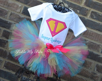 Supergirl Birthday Number Tutu Outfit-Supergirl Birthday Party Tutu Set-Superhero Birthday Tutu Set-Supergirl Birthday Party Outfit