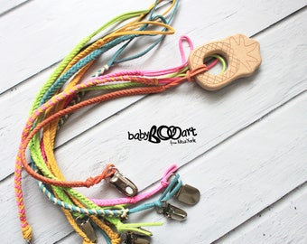 Leather pacifier clip | leather teething toy |
