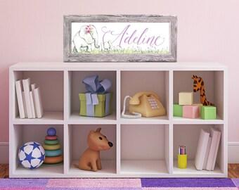 FRAMED Nursery Art - Elephant Decor - Elephant Baby Shower Gift - Elephant Nursery Decor - Personalized Name Print - Little Girls Room
